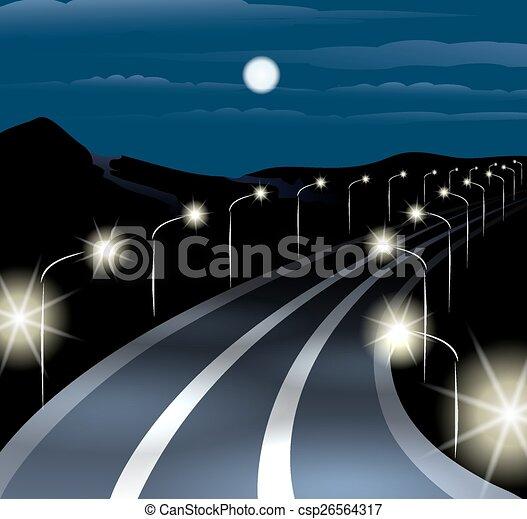 Camino nocturno - csp26564317