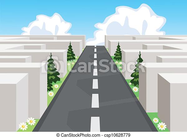 Camino sobre un laberinto cortando la confusión y teniendo éxito en el negocio y la vida. - csp10628779