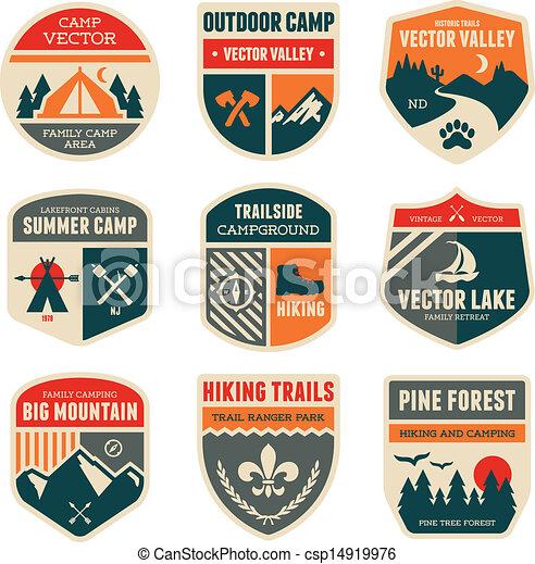 insignias de campamento de retro - csp14919976