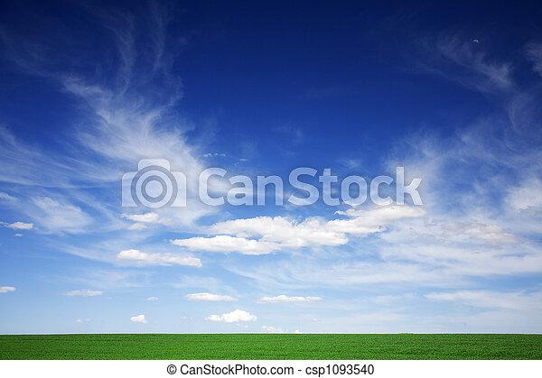 Campo verde, cielo azul, nubes blancas en primavera - csp1093540