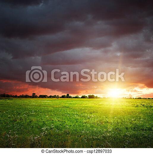 Campo y cielo con nubes oscuras - csp12897033