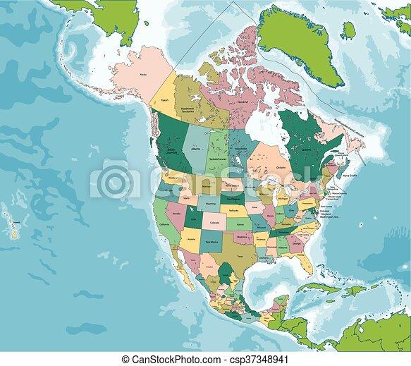 El mapa de Norteamérica con EE.UU., Canadá y México - csp37348941