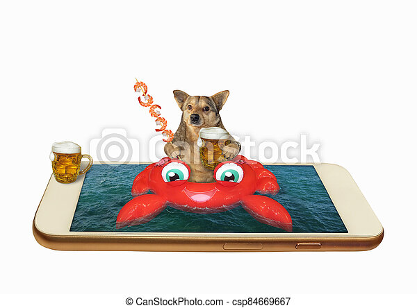cangrejo, perro, inflable, teléfono - csp84669667