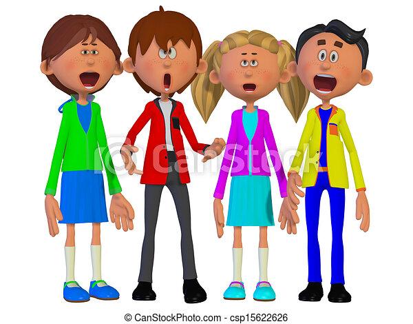Niños cantando - csp15622626
