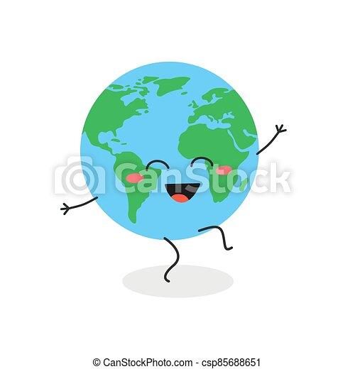 carácter, globo, vector, caricatura, bailando, ilustración, divertido - csp85688651