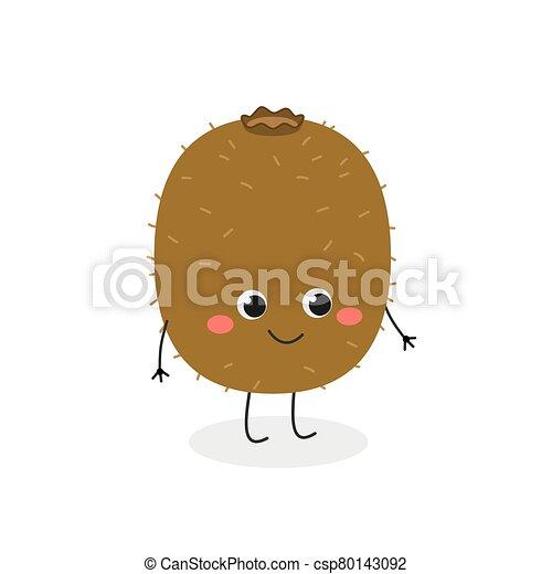 carácter, lindo, vector, alegre, kiwi, ilustración, caricatura - csp80143092