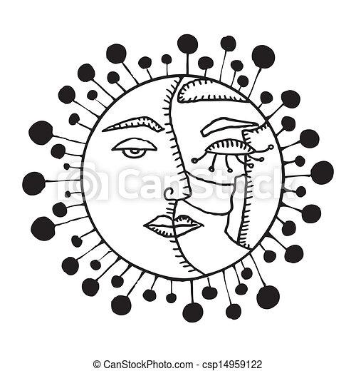Doble cara luna y sol - csp14959122