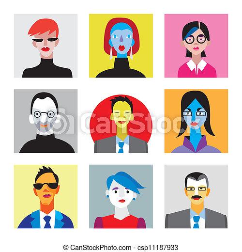 Caras de hombres de negocios y mujeres de negocios para avatar de Internet - csp11187933