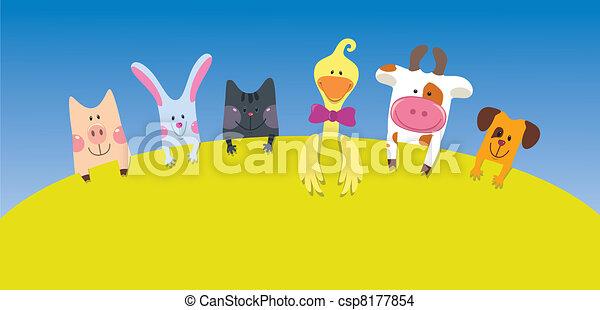 Tarjeta de animales de granja - csp8177854