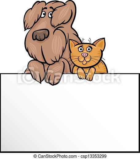 Gato y perro con dibujos animados - csp13353299