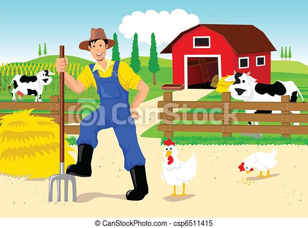 Farmer en caricaturas - csp6511415