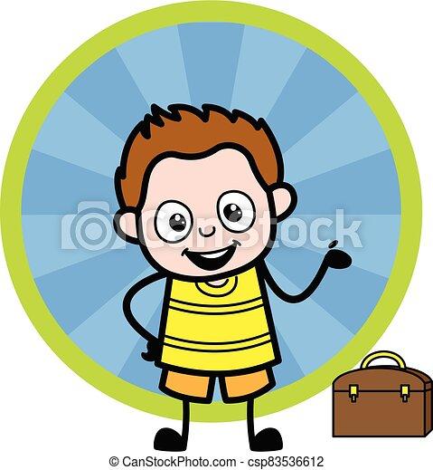 caricatura, joven, presentación, niño, feliz - csp83536612