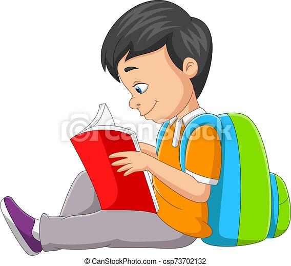 caricatura, libro, niño, poco, lectura - csp73702132