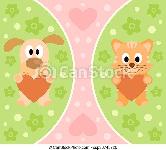 Antecedentes con gatos y perros de dibujos animados - csp38745728