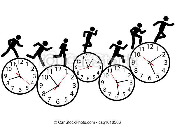 La gente del símbolo corre una carrera a tiempo en relojes - csp1610506