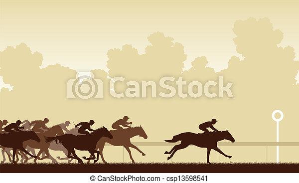 Carrera de caballos - csp13598541