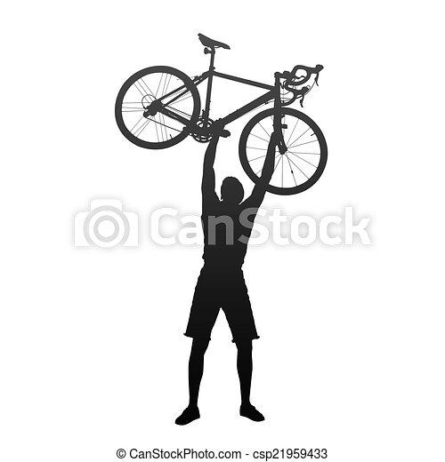 Silueta de hombre con manos en bicicletas de carreras - csp21959433
