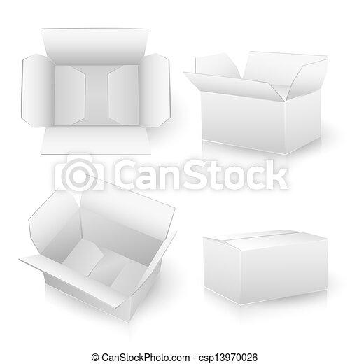 Un juego de cajas blancas de cartón - csp13970026