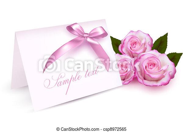 Carta de bienvenida con rosas de belleza - csp8972565