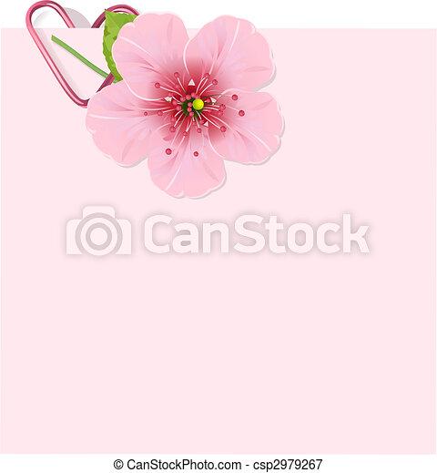 Carta de flores de cerezo - csp2979267
