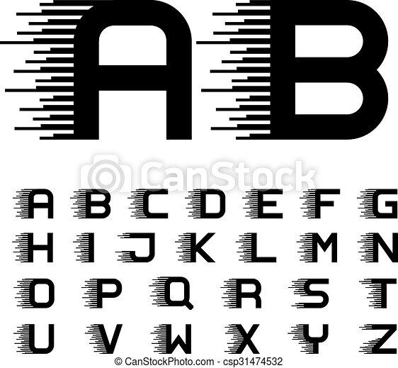 Las líneas de movimiento de velocidad letras de letras de letras de letras de letras de fontología - csp31474532