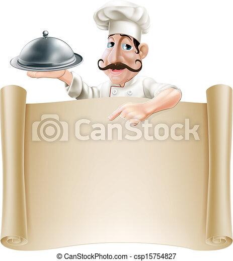 Cartoon Cocinero del menú - csp15754827