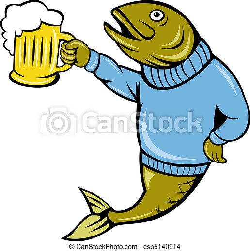 Cartoon Trout, taza de cerveza - csp5140914