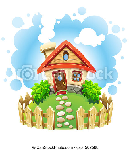 Casa de cuentos de hadas en el césped con cerca - csp4502588