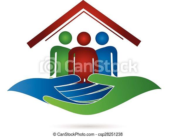 Logo de las manos de protección familiar - csp28251238