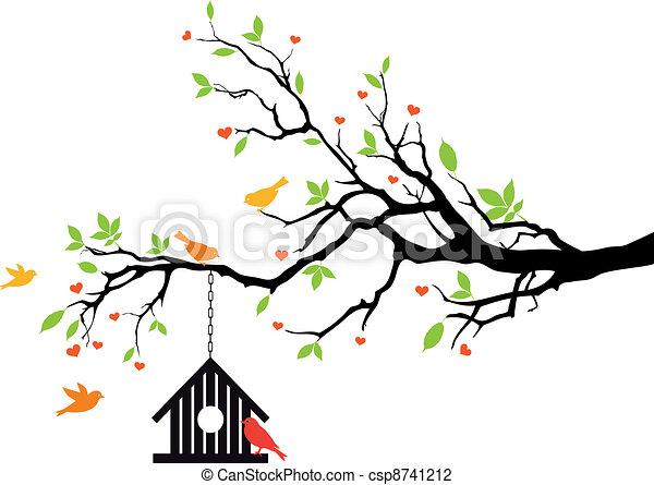Casa de aves en el árbol de primavera, vector - csp8741212