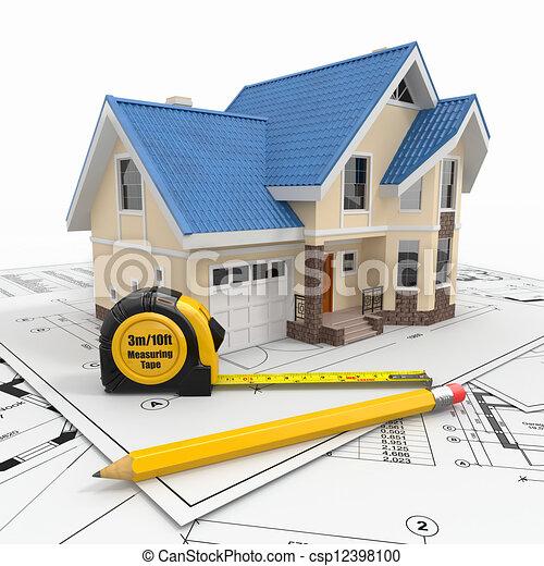 Casa residencial con herramientas en planos arquitectos. - csp12398100