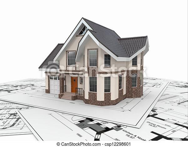Casa residencial en planos arquitectos. Proyecto de vivienda. - csp12298601