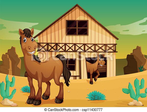 Casa y caballos - csp11430777