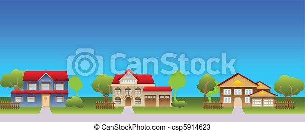 Casas suburbanas en el vecindario - csp5914623