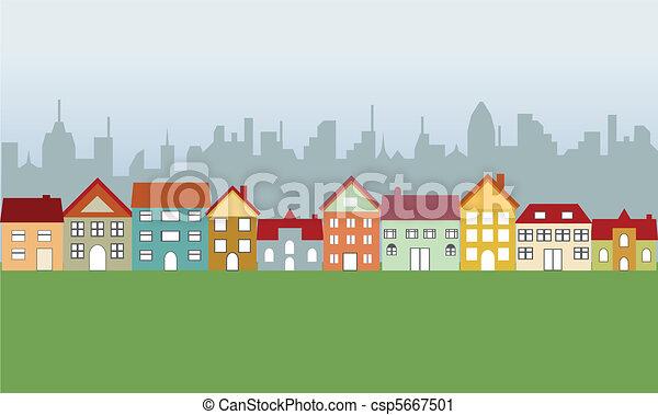 Casas suburbanas y ciudad - csp5667501