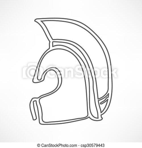Griego, antiguo icono casco aislado - csp30579443
