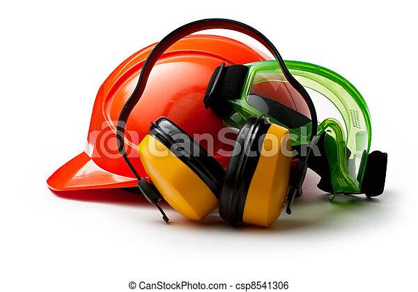 casco de seguridad rojo con auriculares y gafas - csp8541306