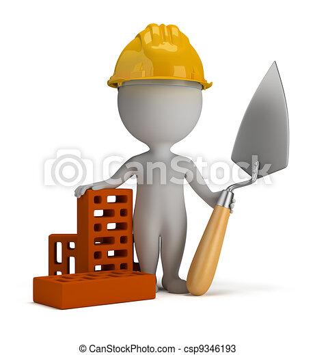 3 personas pequeñas - constructor en el casco - csp9346193