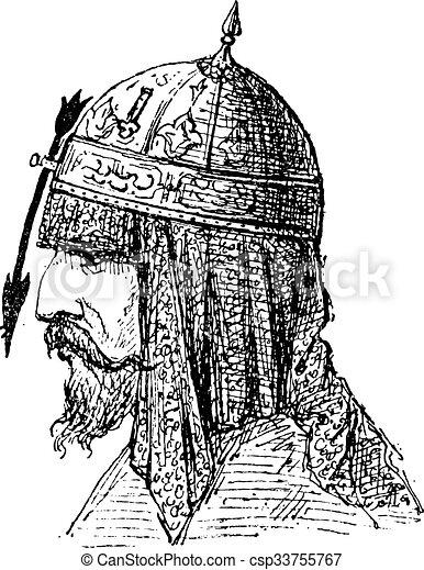 Casco nasal, grabado antiguo - csp33755767
