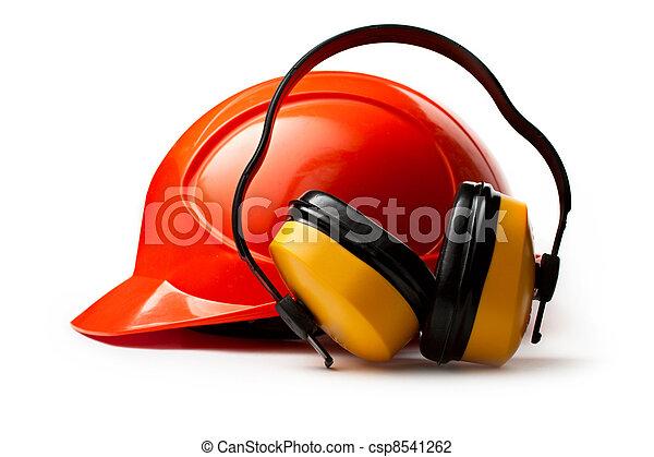 casco de seguridad rojo con auriculares - csp8541262