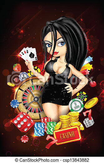 Dama con tarjeta del casino - csp13843882