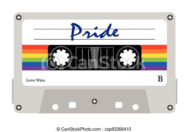 cassete, alegre, fita, desfile, orgullo alegre, cassette, fita-k7, lgbt, lgbt - csp83366410