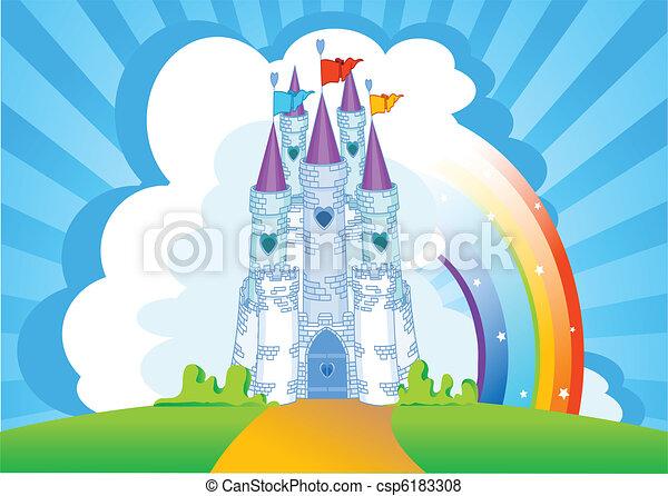Tarjeta de invitación al castillo mágico - csp6183308