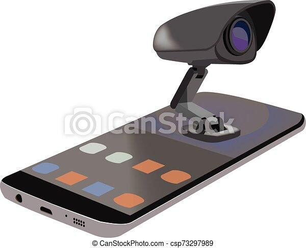 Celular acostado con vídeos - csp73297989
