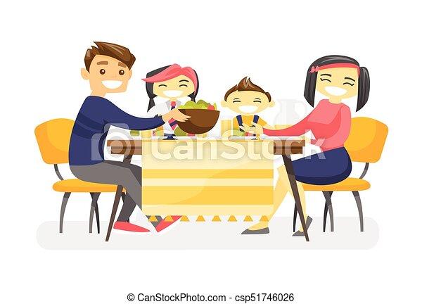 Feliz cena multiétnica en la mesa. - csp51746026