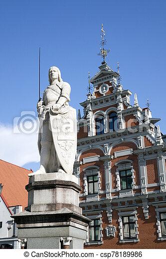 central, riga, monumento, roland, cuadrado, letonia, s. - csp78189986