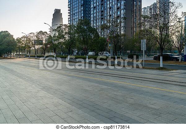 centro, china, guangzhou, urbanizado, ciudad, plaza - csp81173814