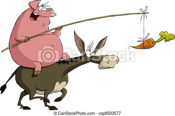 Cerdo en un burro - csp8503577