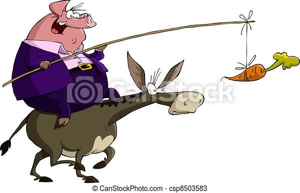 Cerdo en un burro - csp8503583