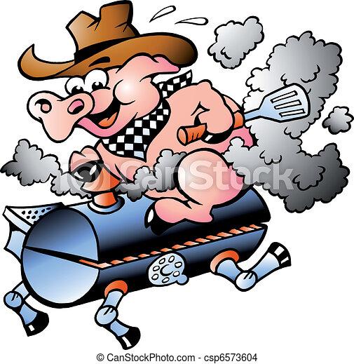 Cerdo montando en un barril de barbacoa - csp6573604